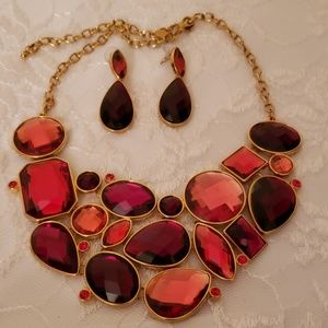 JOAN RIVERS Red Rhinestone Choker Set